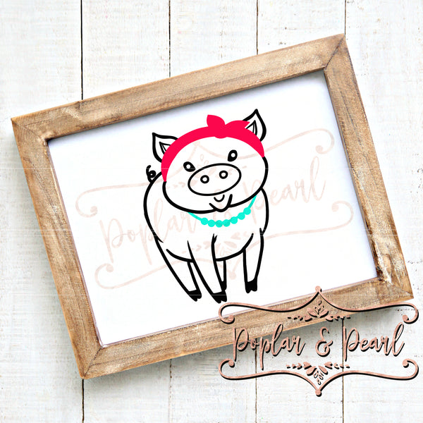 Pig with Bandana and Necklace SVG DXF PNG