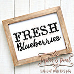 Fresh Blueberries FarmHouse Style SVG DXF PNG