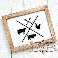 Farm Life Cow Pig Chicken SVG DXF PNG