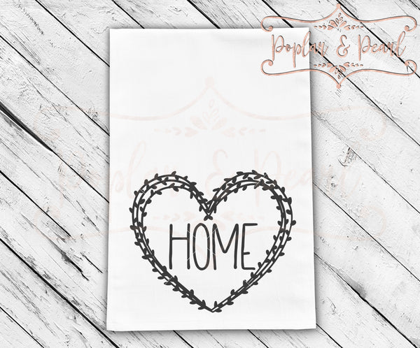 Heart Home Wreath Tea Towel FarmHouse Style SVG DXF PNG