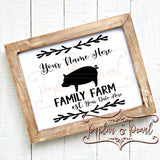 Family Sign Template Pig SVG DXF PNG