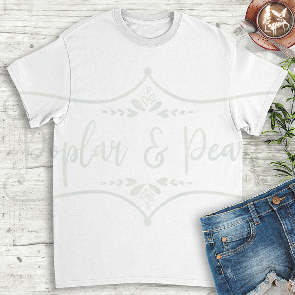 Plain White Shirt Coffee Flat Lay Mock Up Hi-Res JPG