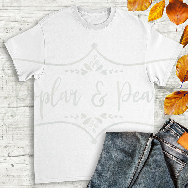 Plain White Shirt Fall Flat Lay Mock Up Hi-Res JPG