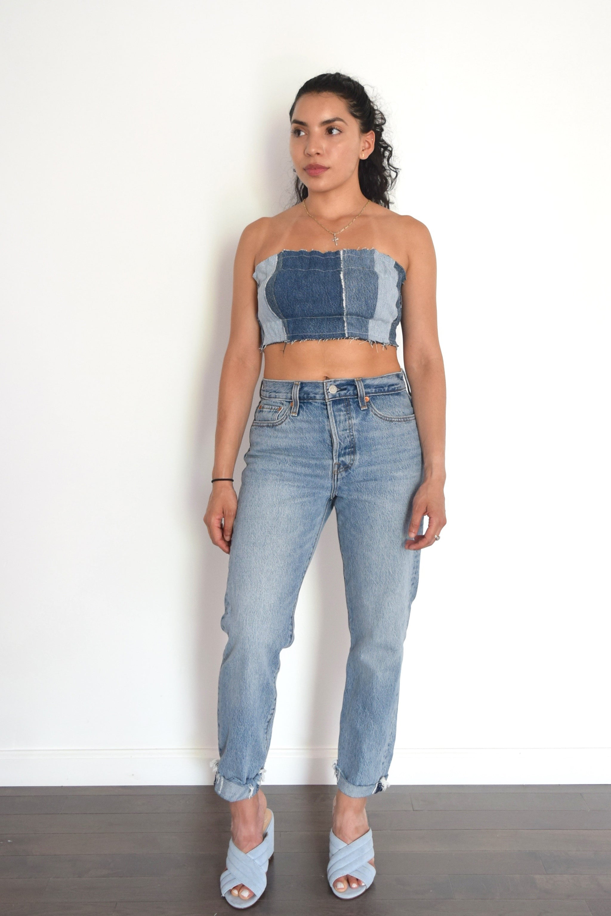 Denim bandeau, reworked denim , patchwork denim