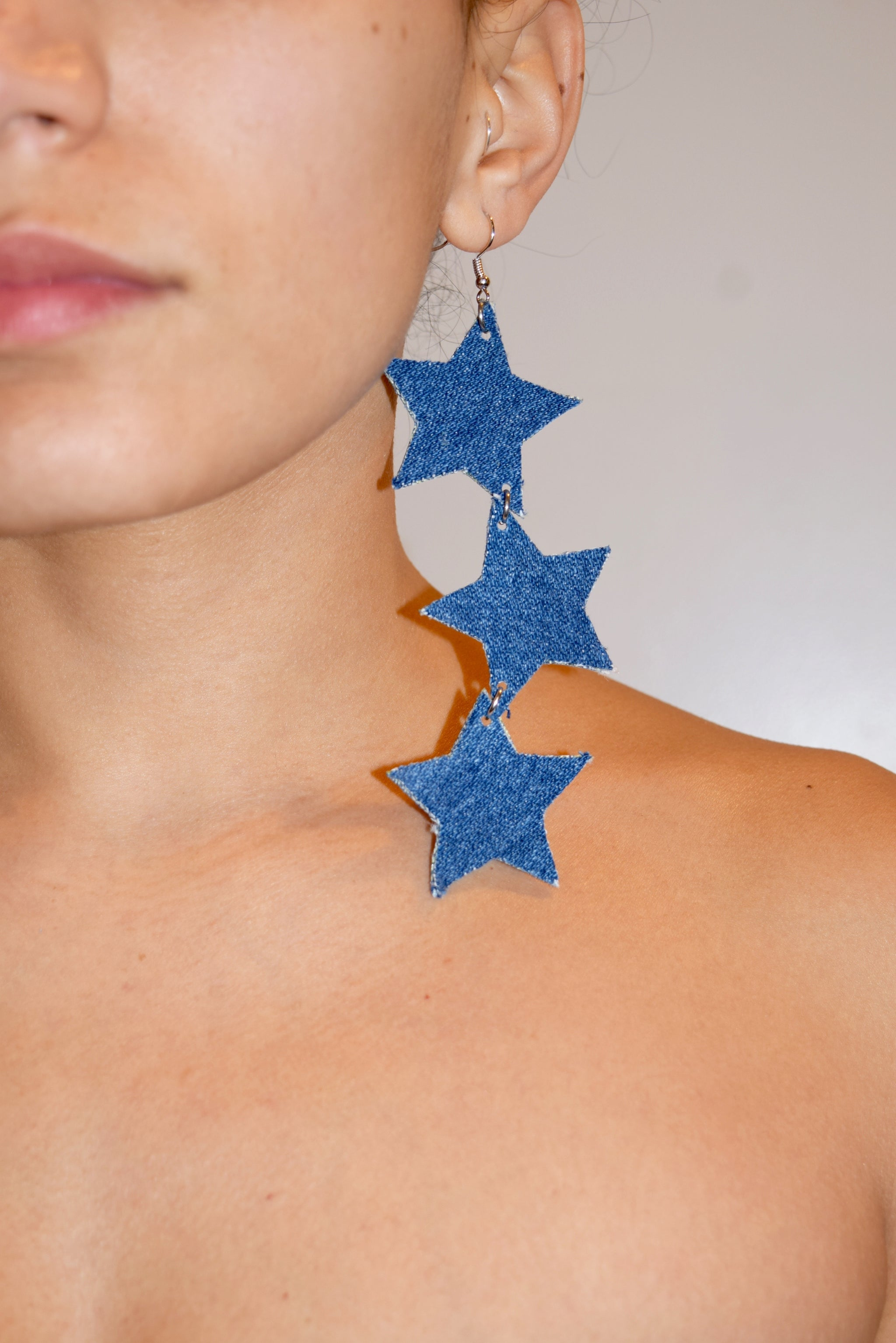 Denim Earrings , star earrings