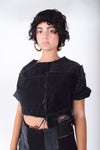 Black Denim Crop Top For Women