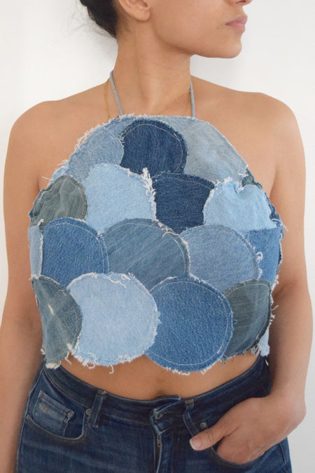Denim Halter Top (Circle Patchwork)