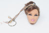 Barbie Head Doll Keychain Brown Hair