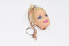 custom Barbie Head Doll Keychain Blonde Hair pretty keychains white pink