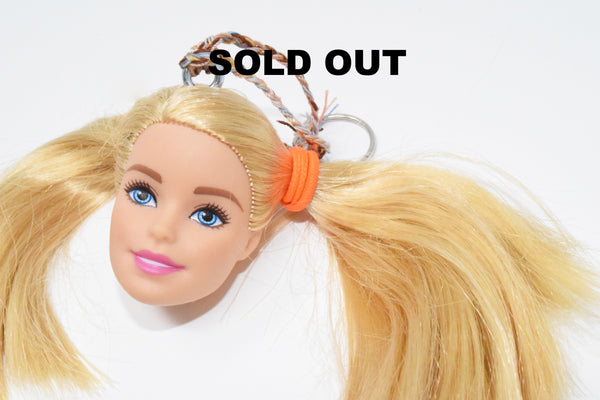 Barbie Head Doll Keychain Blonde Pretty