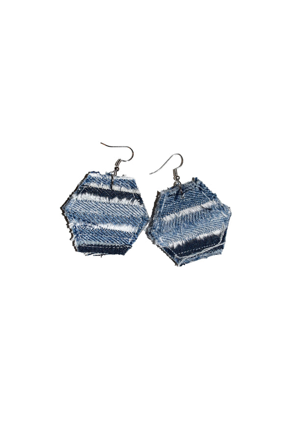 Hexagon Denim Earrings