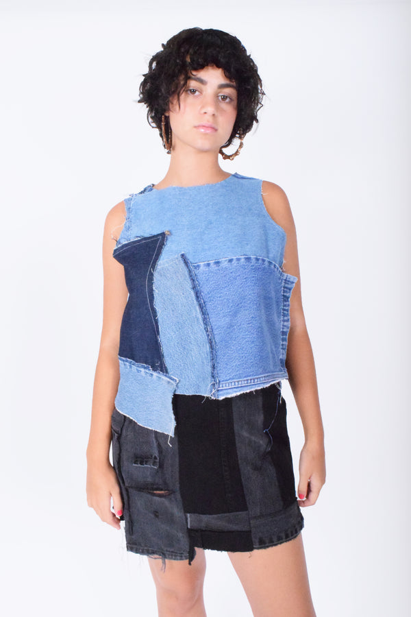 Denim Sleeveless Top Patched for Women