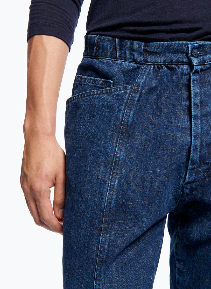 5-Pocket Pants with Front Cuts in Stoned Denim