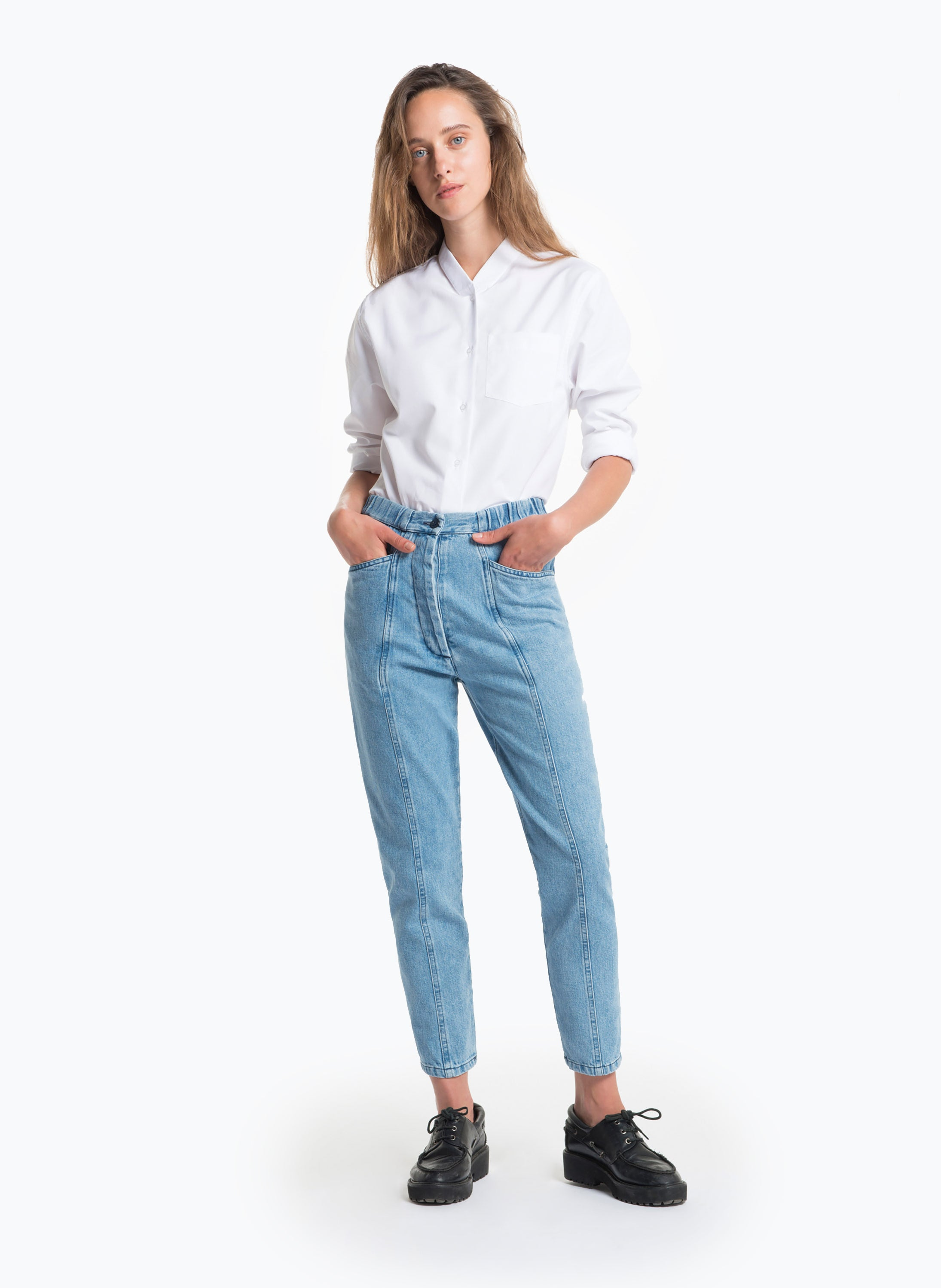 5-Pocket Pants with Front Cuts in Bleached Denim