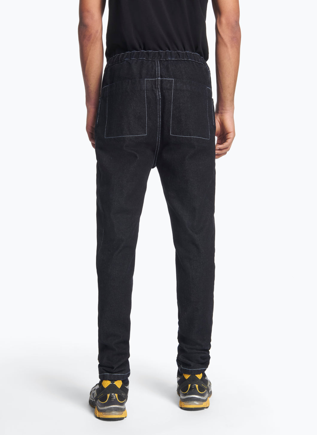 5-Pocket Pants with Front Cuts in Raw Denim