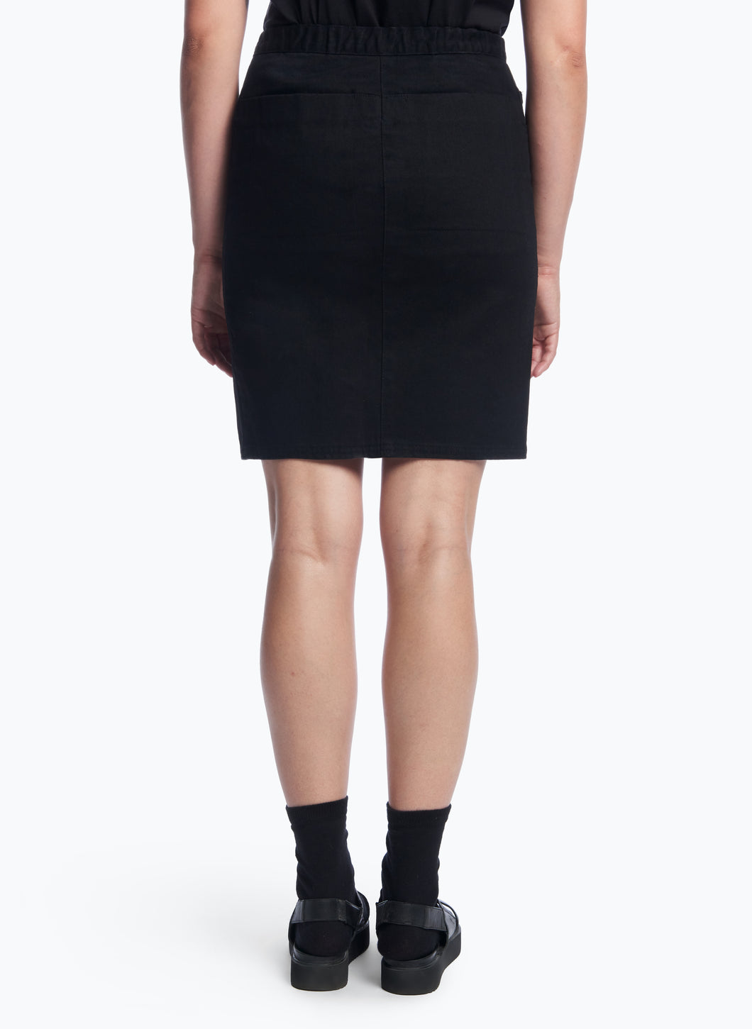 5-Pocket Skirt with Front Cuts in Black Denim