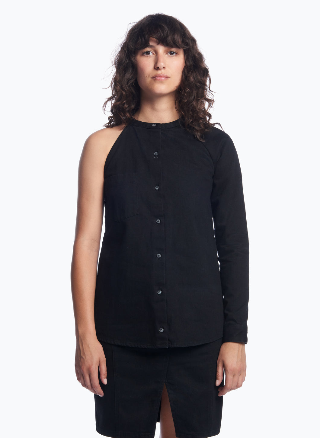 Asymmetrical Shirt in Black Denim