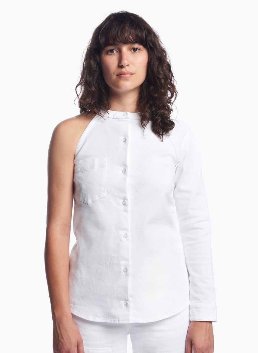 Asymmetrical Shirt in White Denim