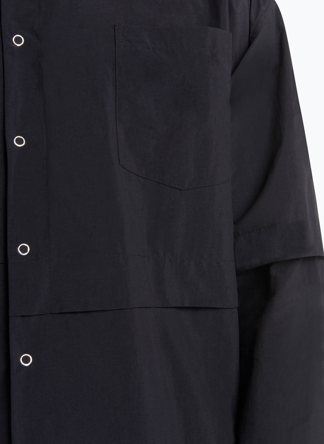 Asymmetrical Trench Coat in Black Technical Material