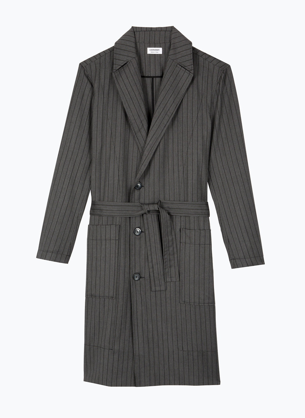 Bathrobe-Style Overcoat in Grey Striped Cool Wool