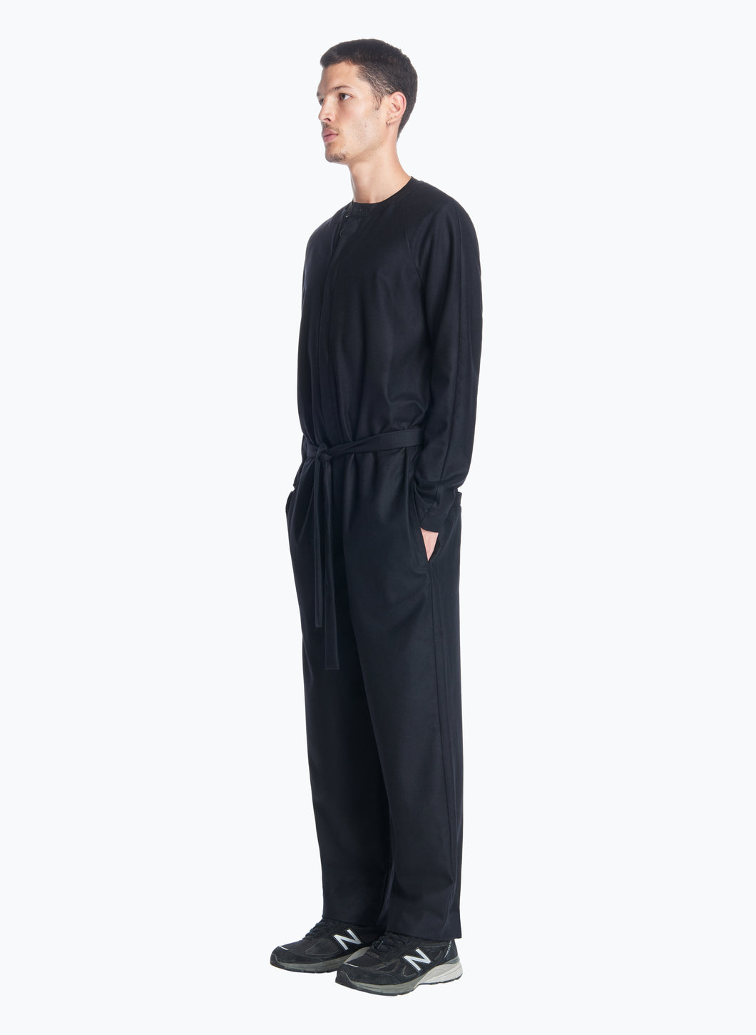 Belted Jumpsuit in Black Flannel Wool