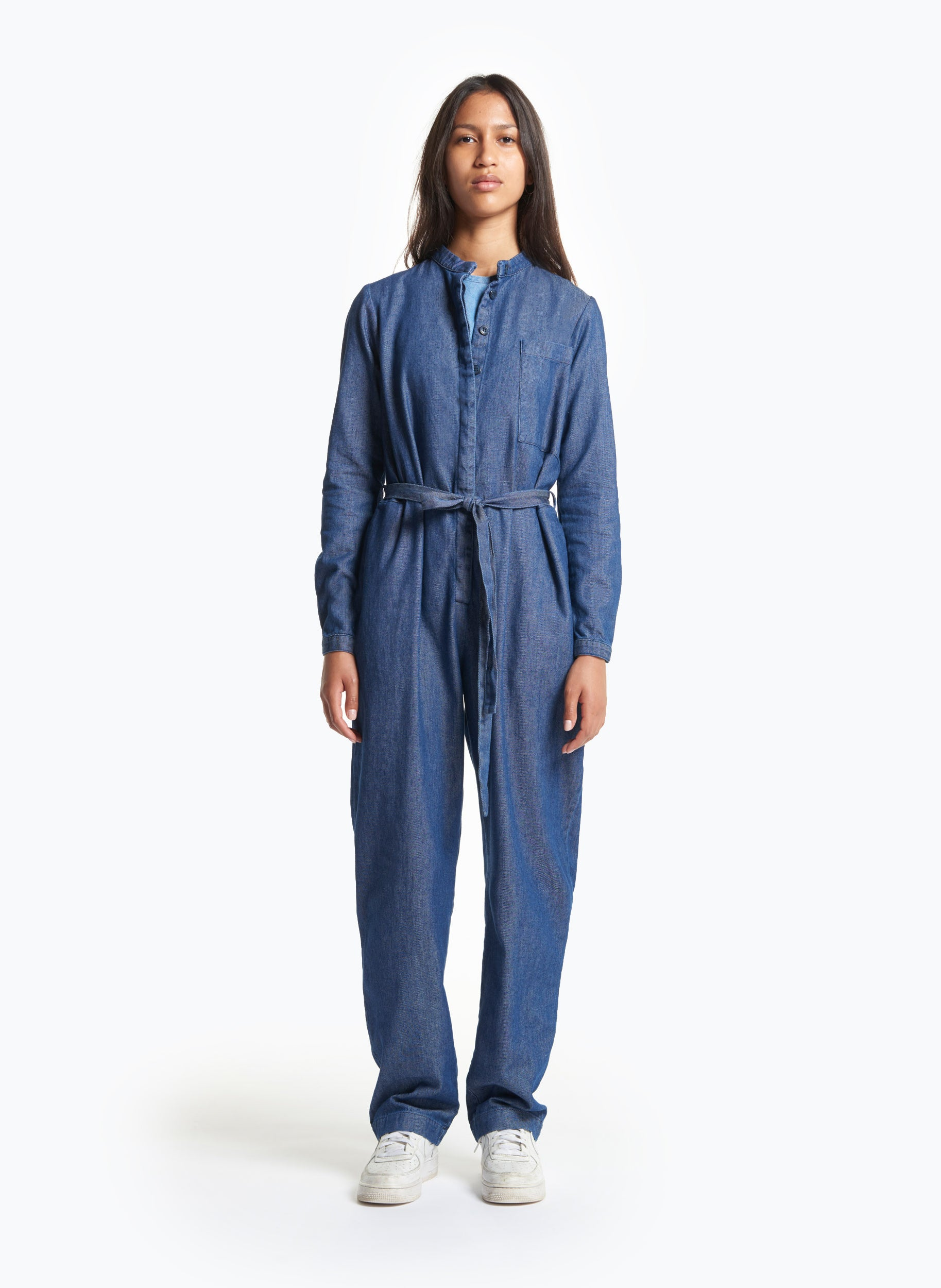 Belted Jumpsuit in Washed Denim