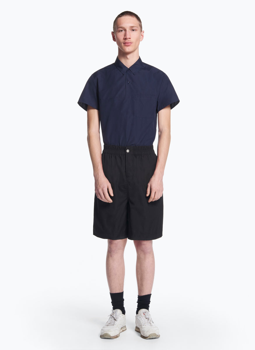 Bermuda Shorts with Stitched Waist in Black Poplin