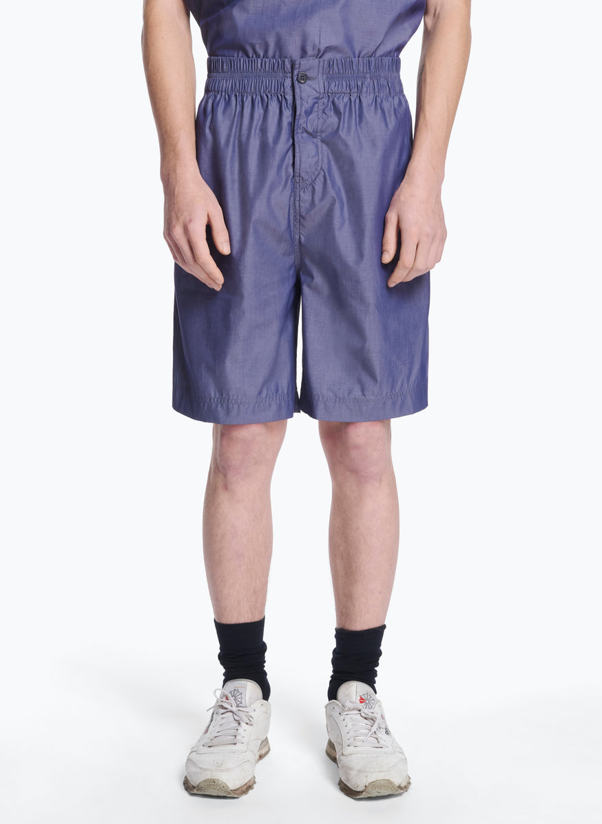 Bermuda Shorts with Stitched Waist in Petrol Poplin
