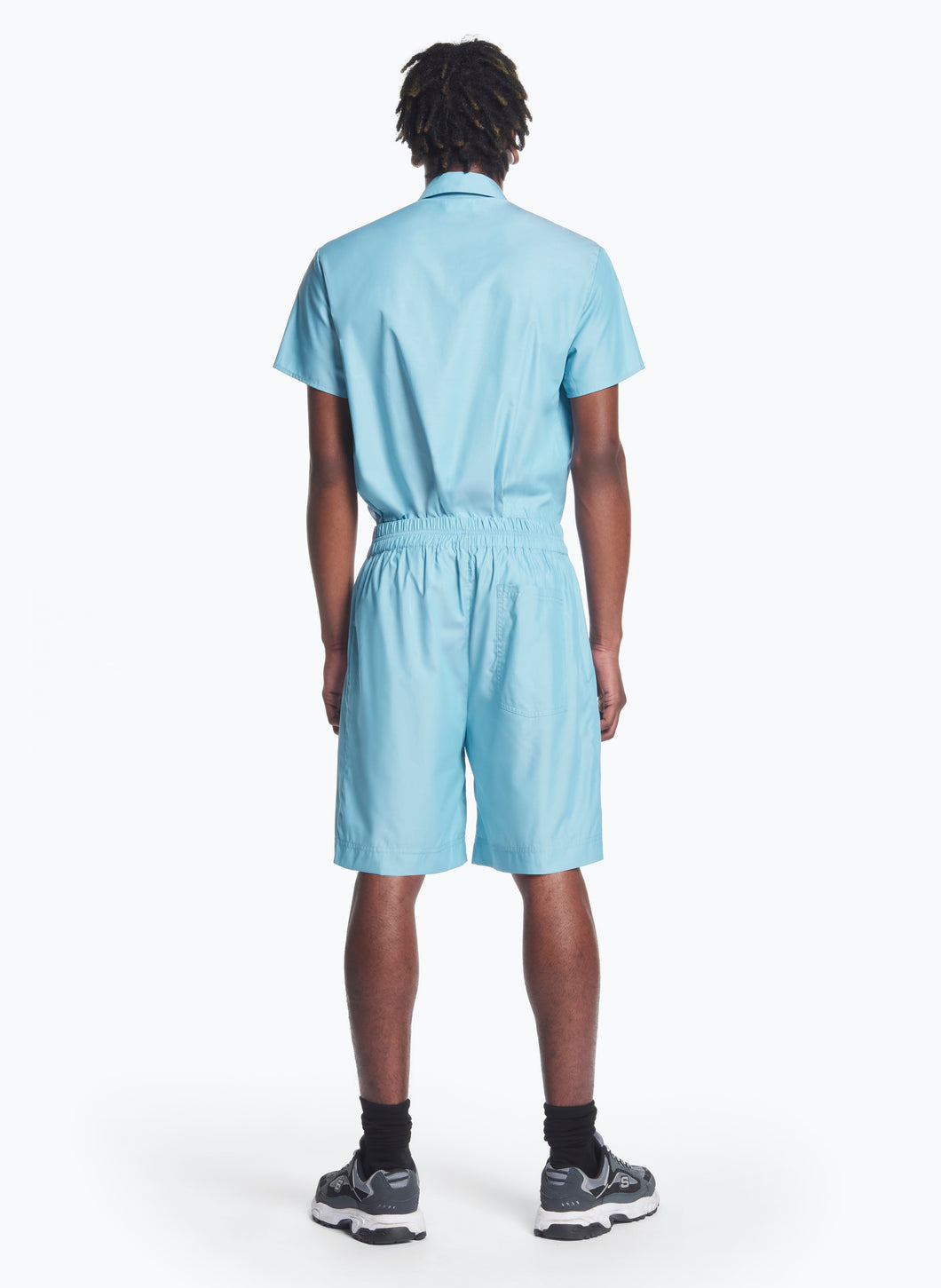 Bermuda Shorts with Stitched Waist in Turquoise Poplin