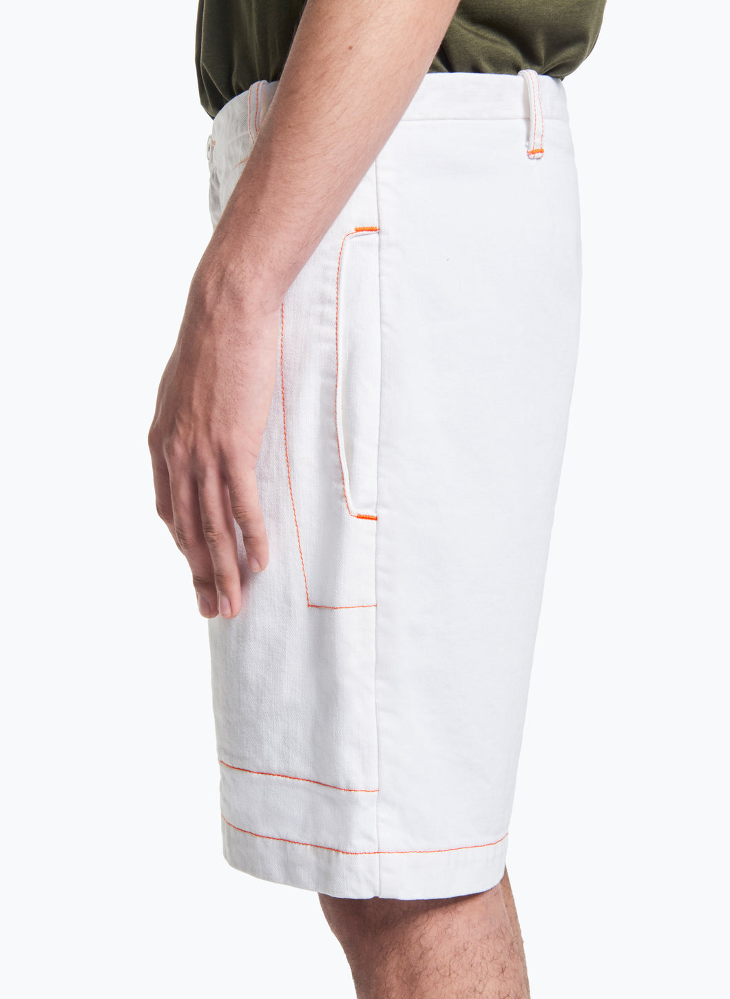 Bermuda Shorts with Notched Pockets in White Denim