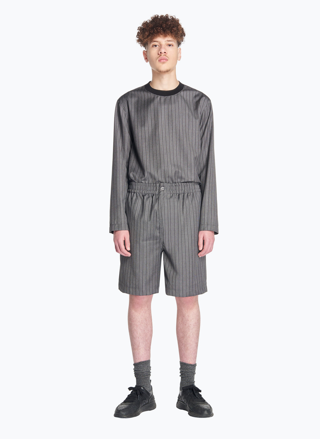 Bermuda Shorts with Stitched Waist in Grey Striped Cool Wool