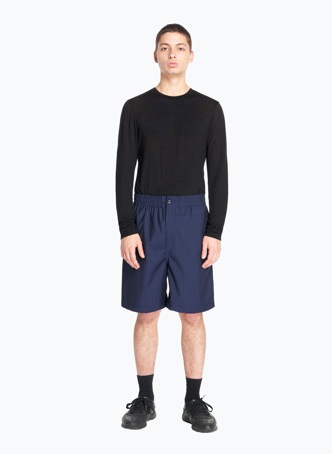 Bermuda Shorts with Stitched Waist in Navy Blue Striped Cool Wool