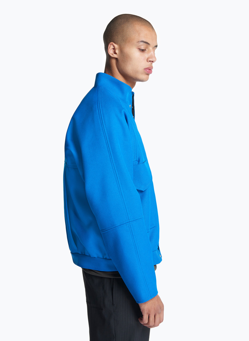 Bomber Jacket with Large Front Pockets in Royal Blue Technical Fabric