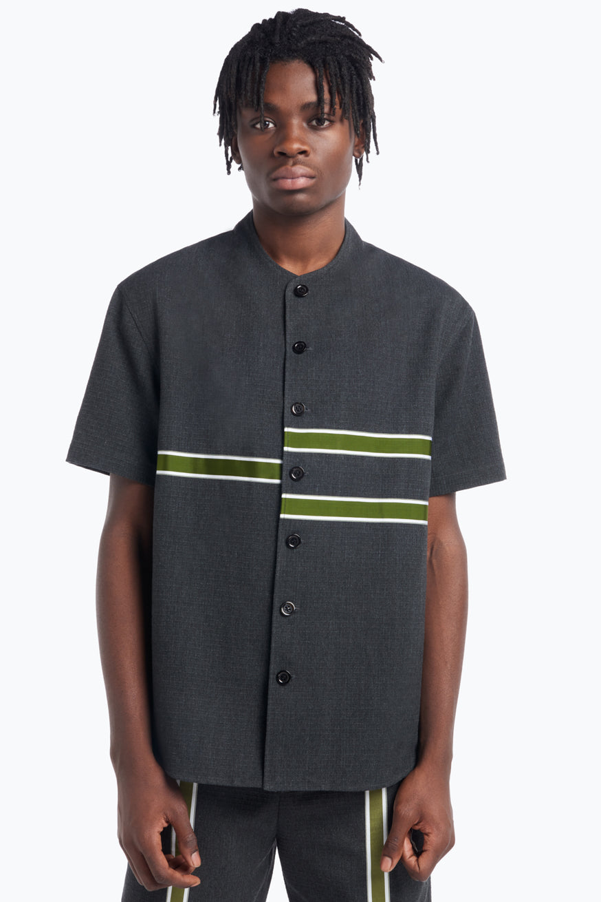 Chemisette with Horizontal Bands in Dark Grey Cotton Ripstop with Green Trim
