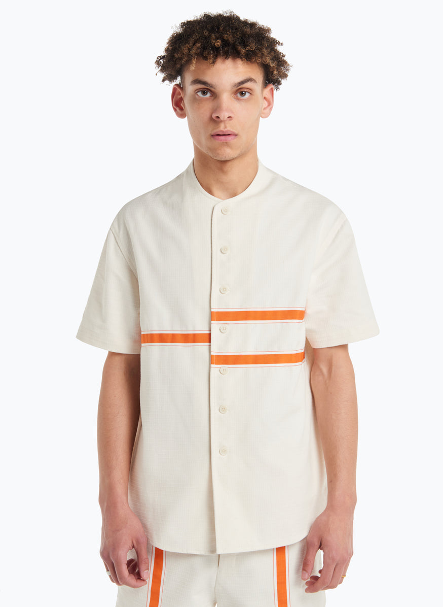 Chemisette with Horizontal Bands in White Cotton Ripstop with Orange Trim