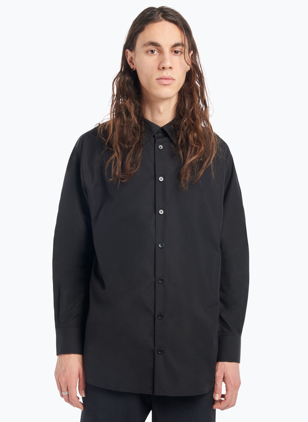 Classic Collar Shirt in Black Poplin