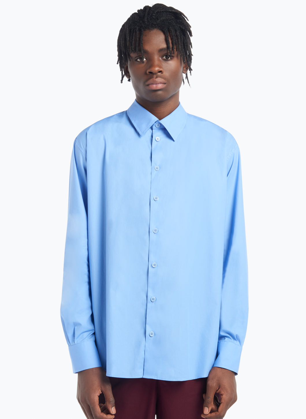 Classic Collar Shirt in Light Blue Poplin