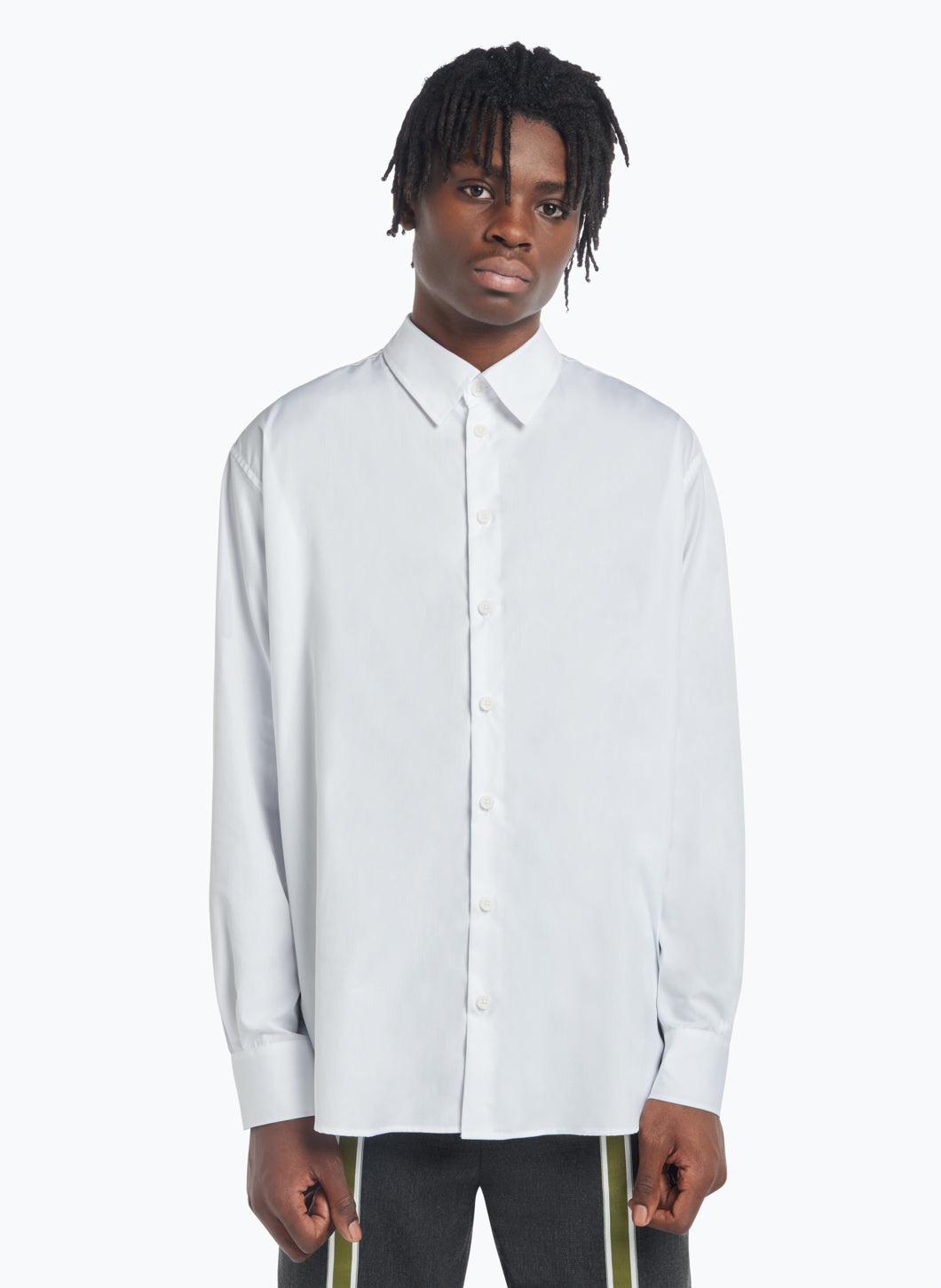 Classic Collar Shirt in White Poplin