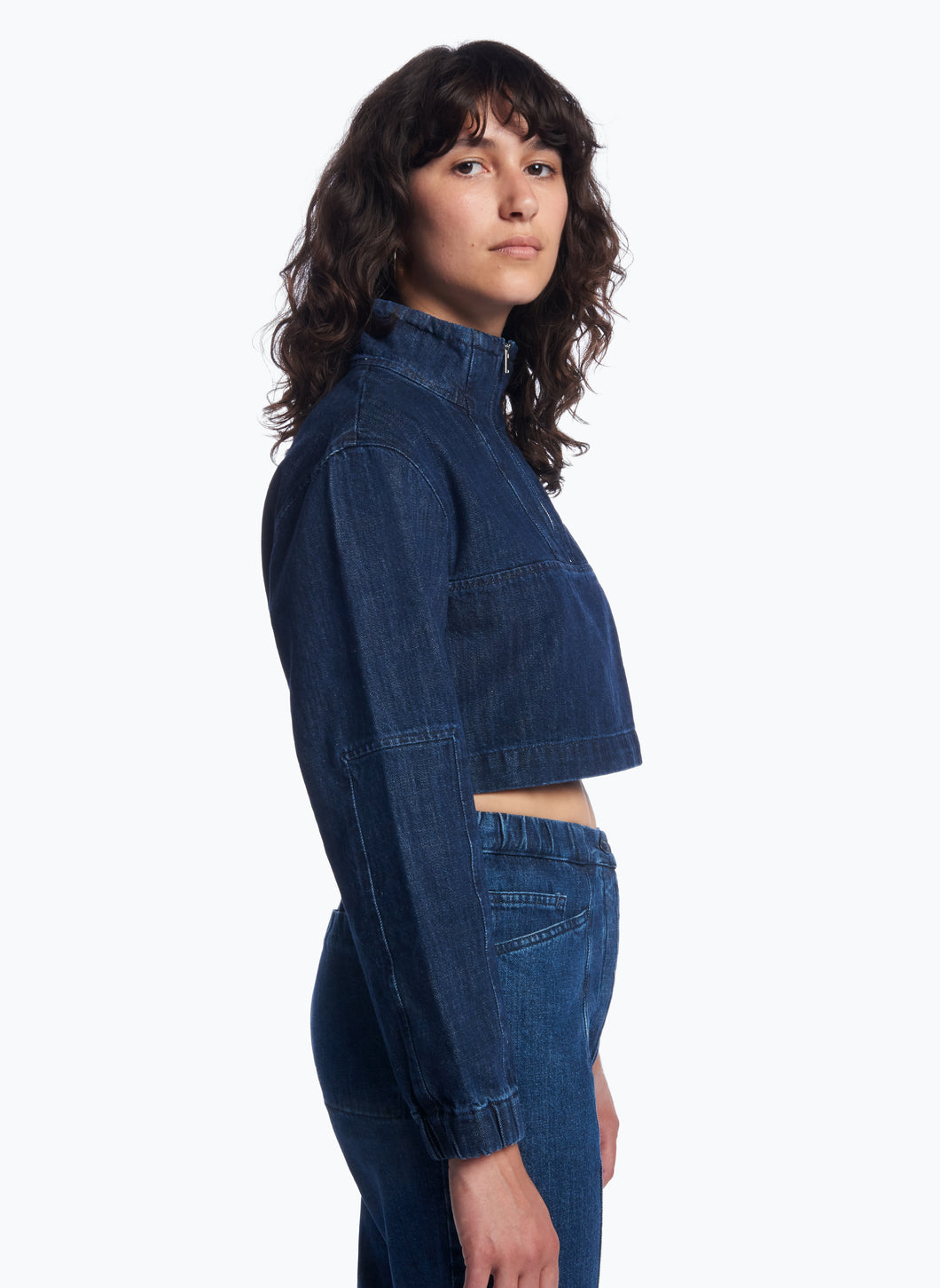 Cropped Funnel Neck Sweatshirt in Stoned Denim