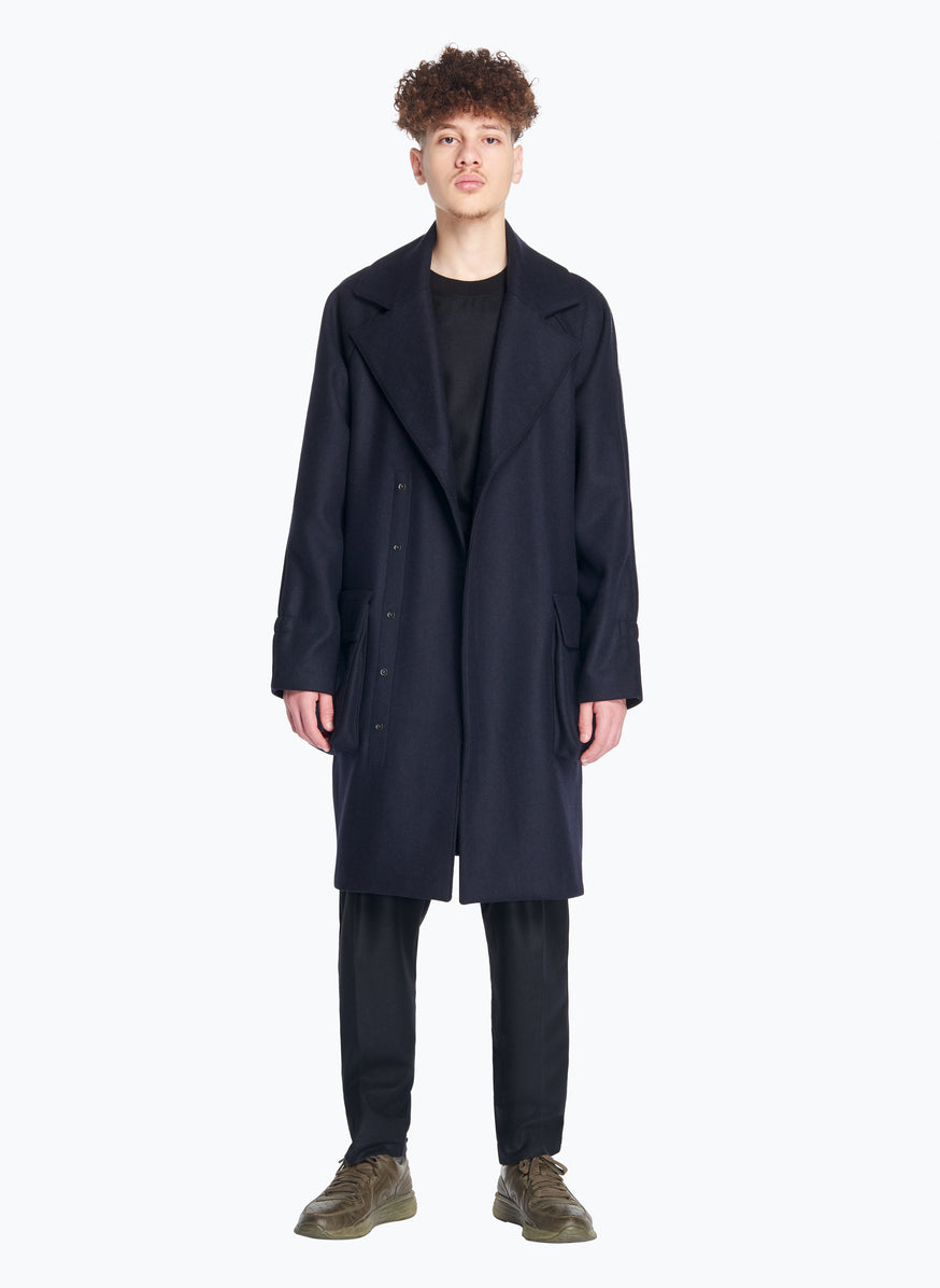 Double Breasted Overcoat in Navy Blue Wool
