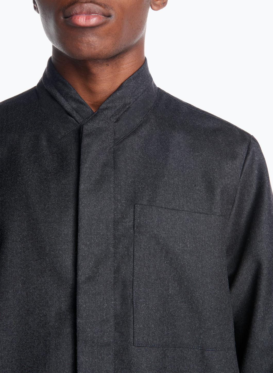 Double Collar Overshirt in Dark Grey Flannel Wool
