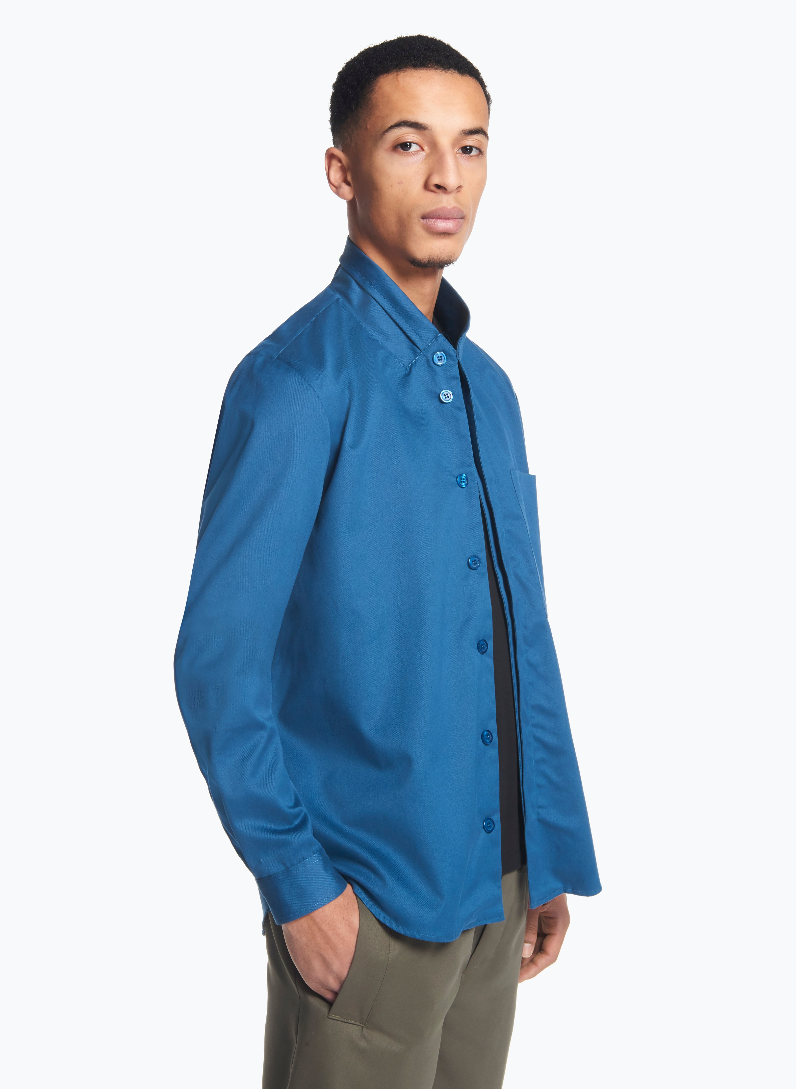 Double Collar Overshirt in Petrol Gabardine