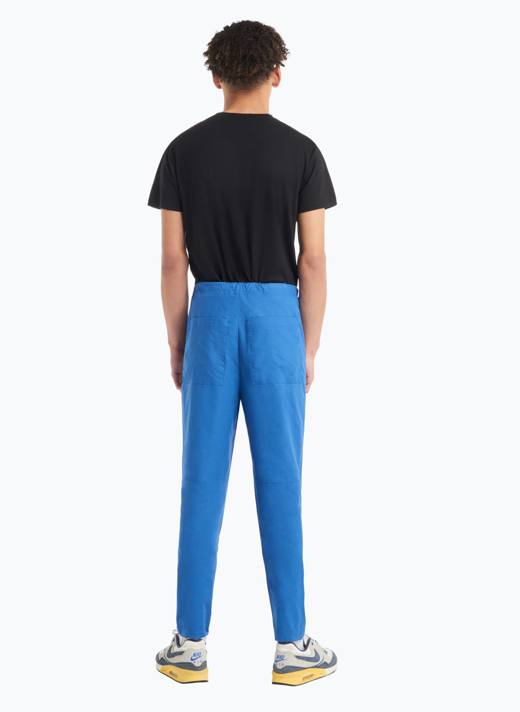 Drawstring Pants in Blue Poplin