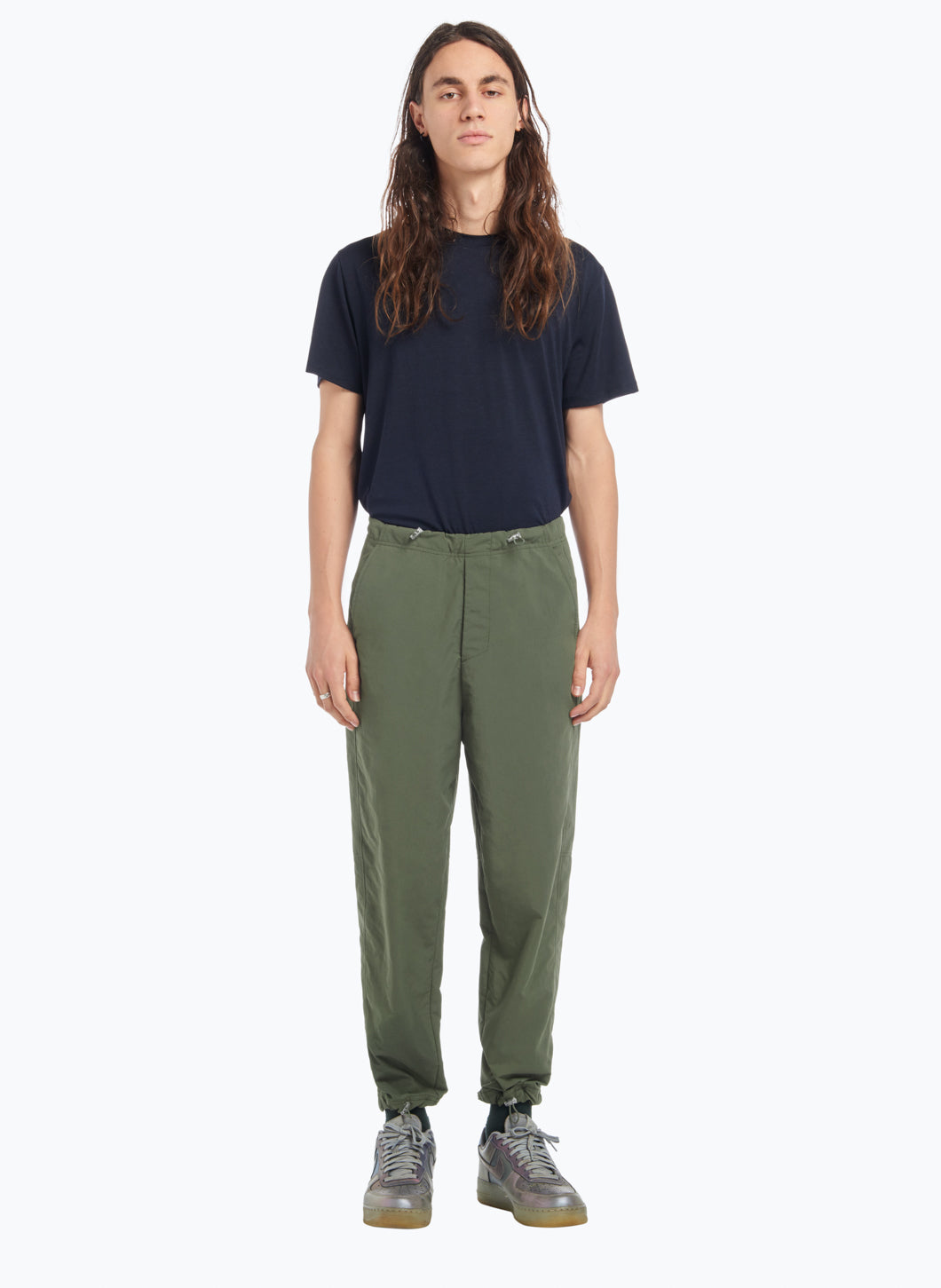 Drawstring Pants in Olive Technical Material