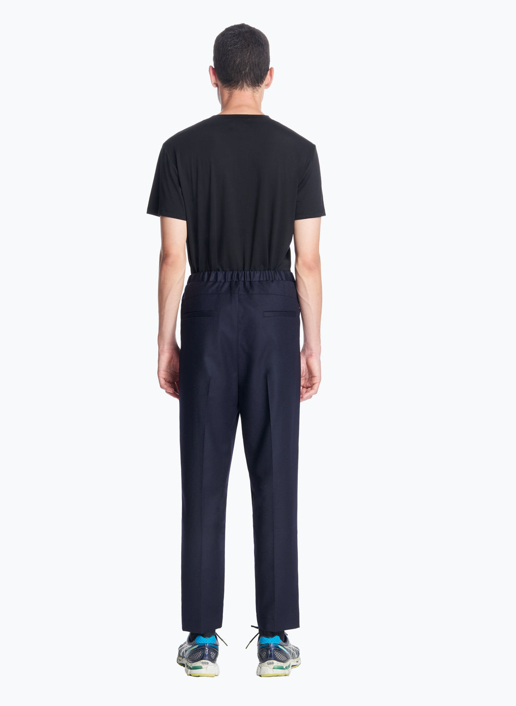 Elastic Waist Pants with Deep Pleats in Navy Blue Flannel Wool