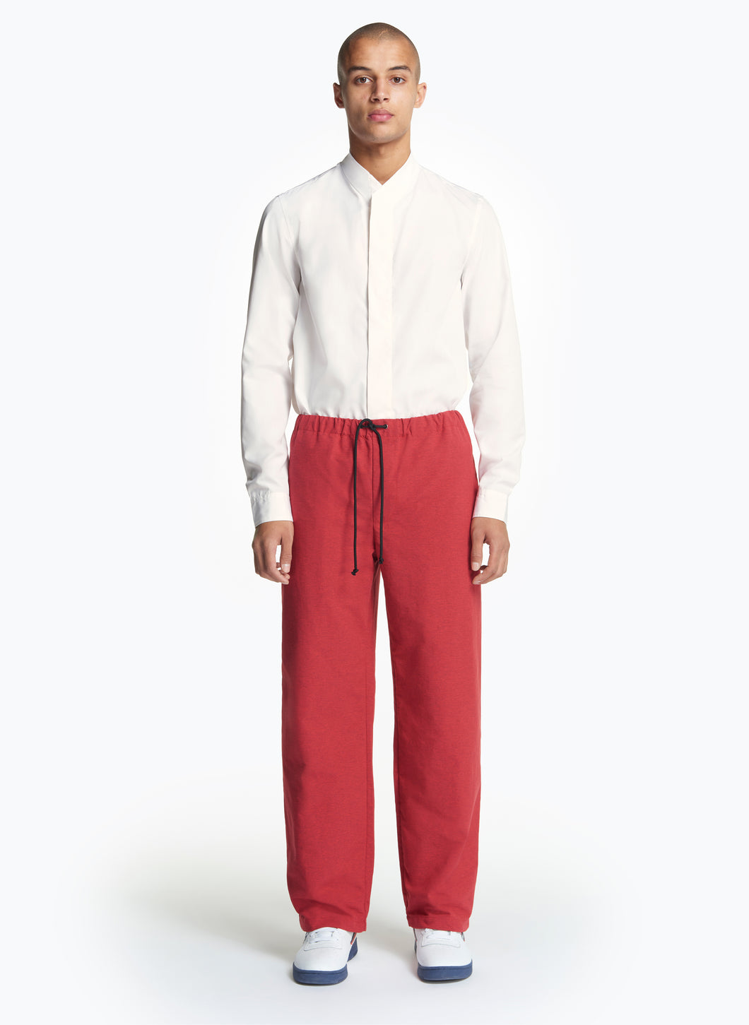 Elastic Waist Pants with Tie in Red Tactel