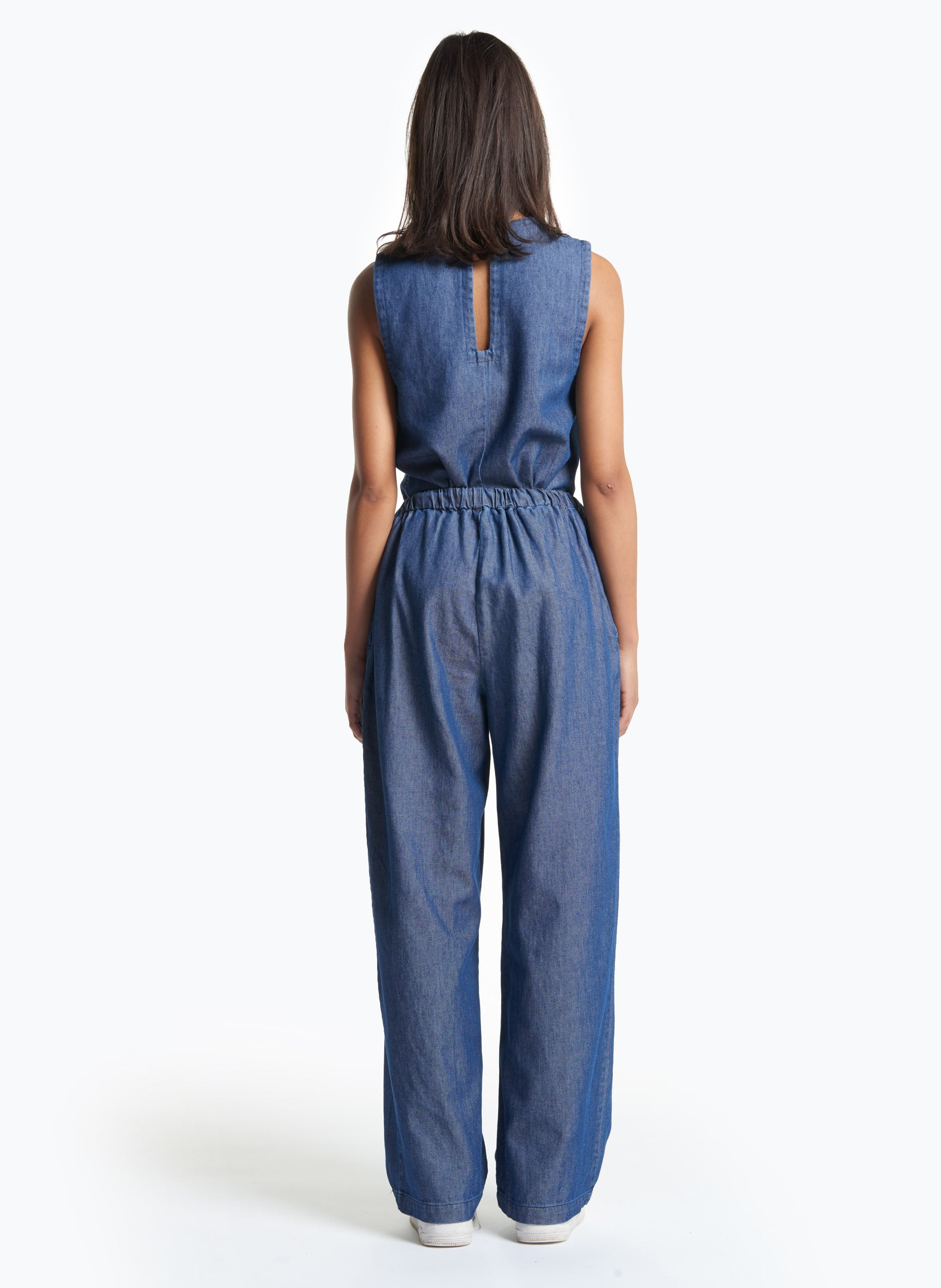 Elastic Waist Pants with Tie in Washed Denim