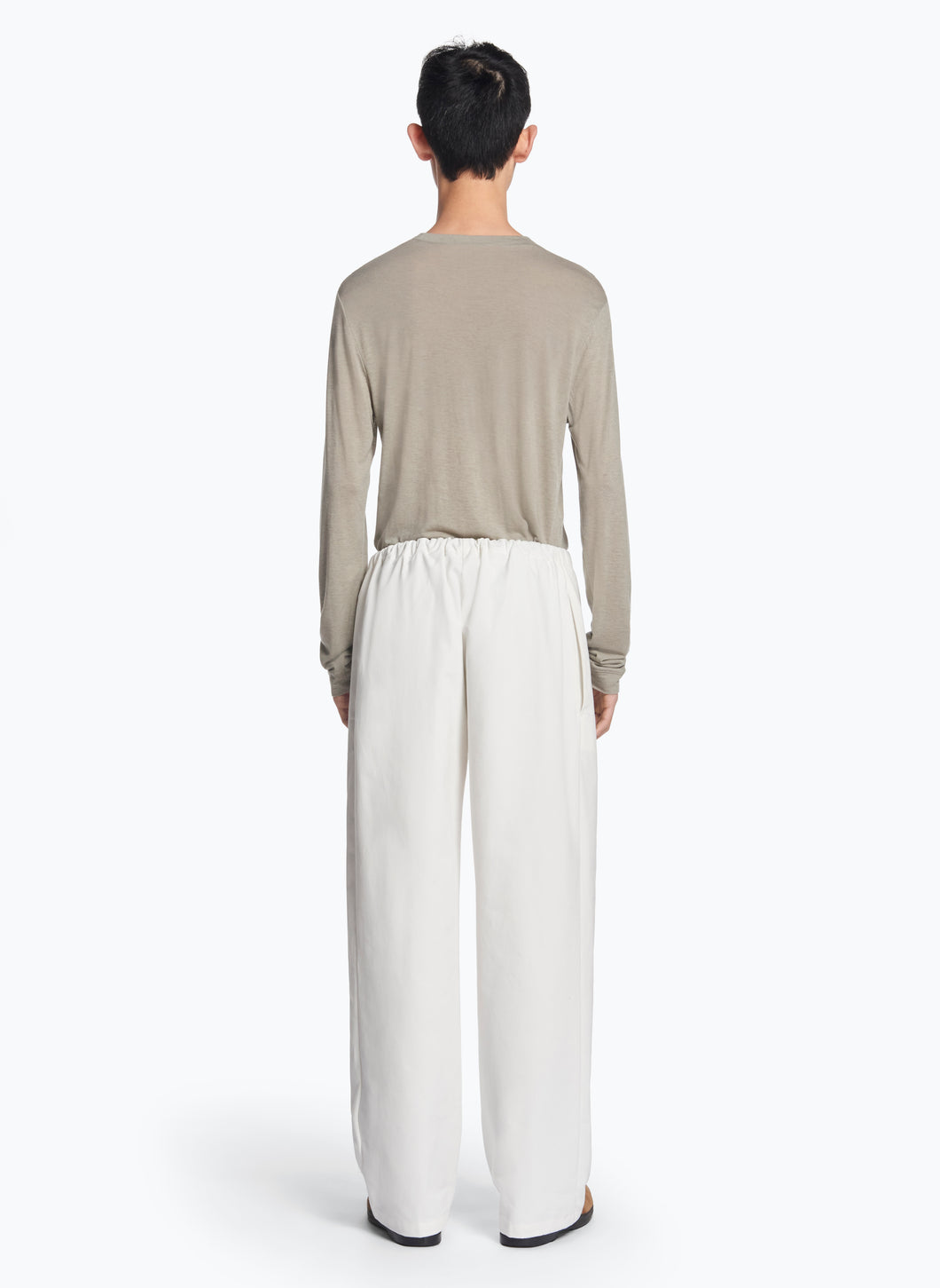 Elastic Waist Pants with Tie in White Gabardine