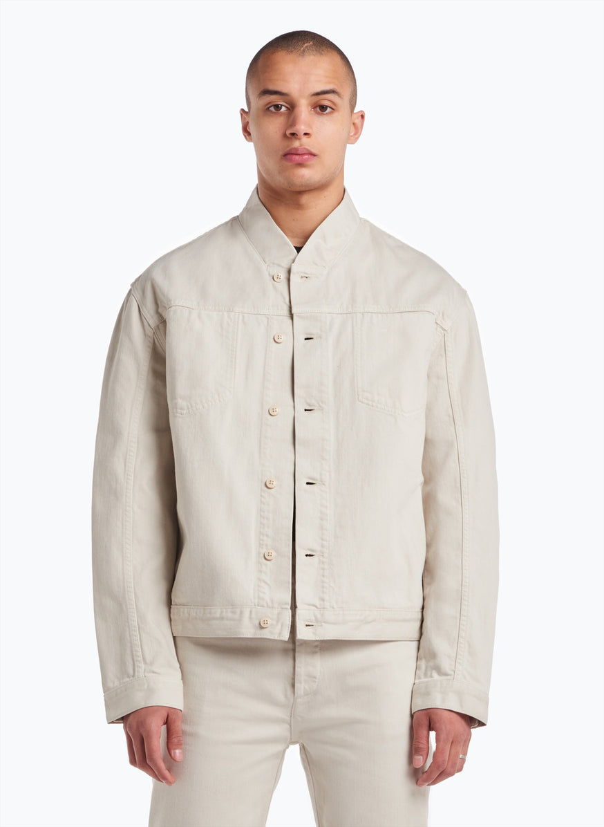 False Collar Jacket in Beige Denim