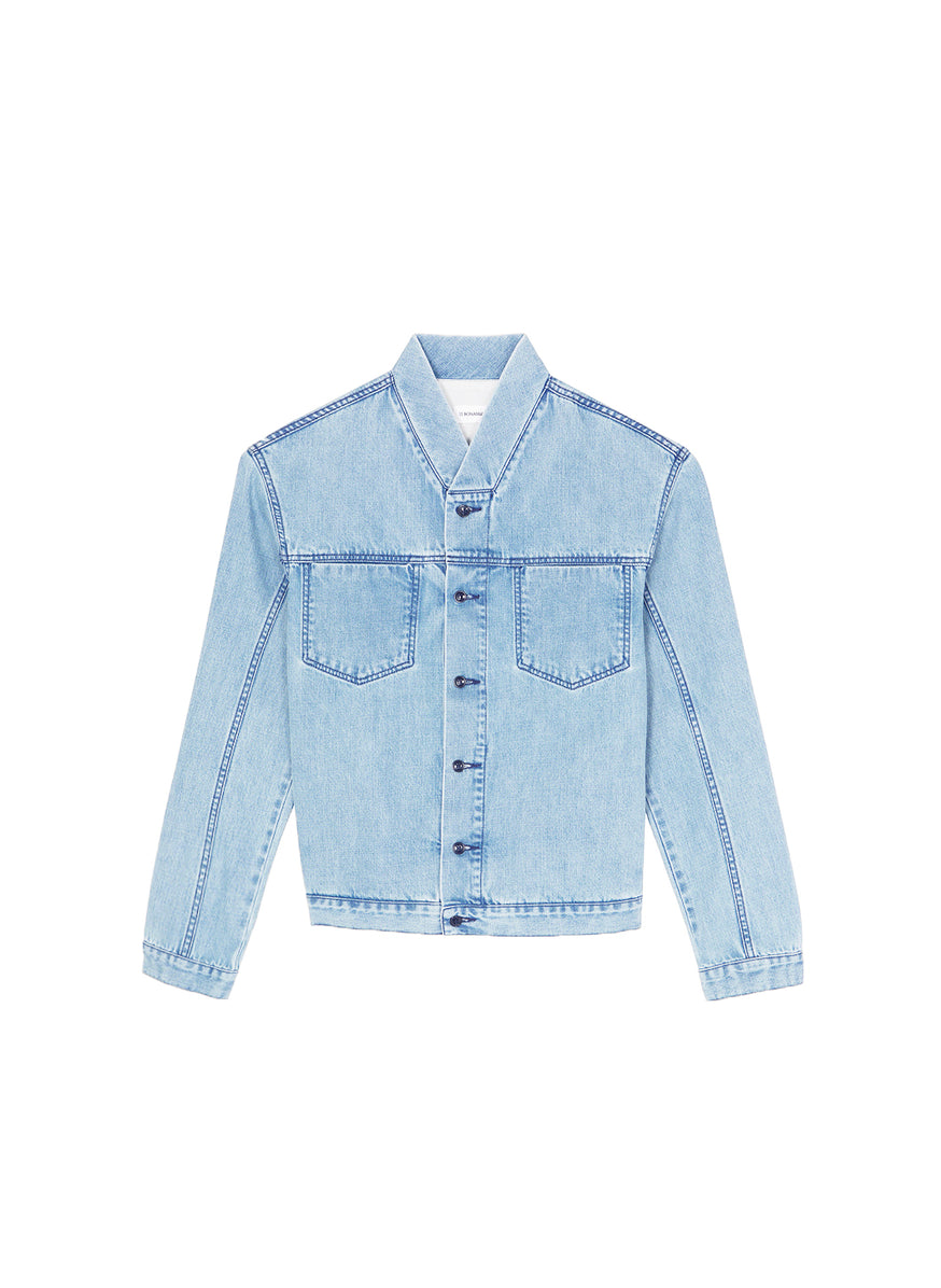 False Collar Jacket in Bleached Denim